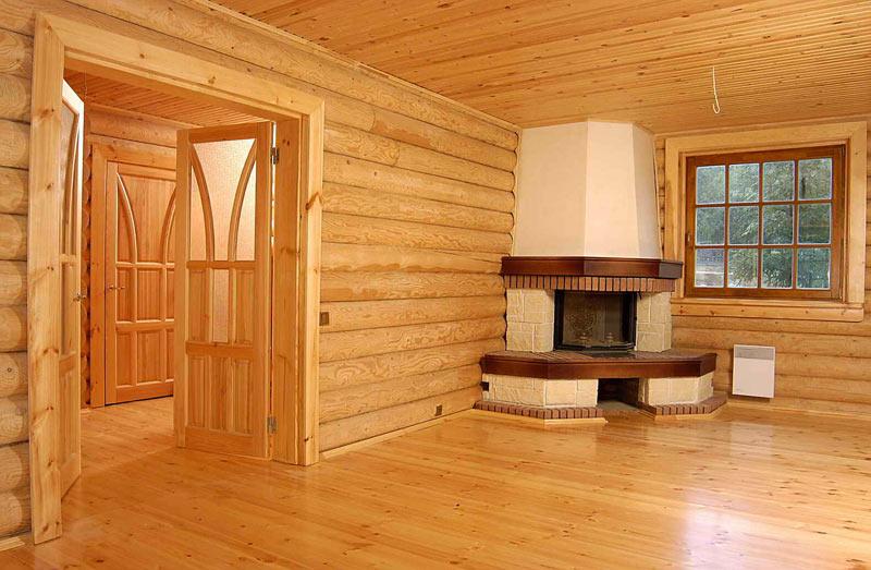 Фото внутренней отделки домов из бревен